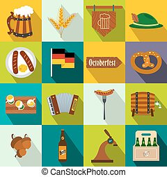 Oktoberfest party flat icons set for web and mobile devices