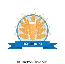 oktoberfest, pilsner, vidrio, cerveza, logotipo, oreja