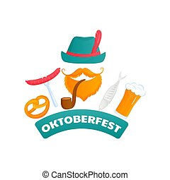 Oktoberfest poster. Bearded man in a green hat with a pipe. Fish, sausage, pretzel, beer - traditional Austrian food