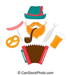 Oktoberfest poster. Bearded man in a green hat with a smoking pipe and accordion. Fish, sausage, pretzel, beer - traditional Austrian food