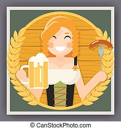 Oktoberfest Poster Girl With Beer Festival Celebration Symbol Flat Design Vector Illustration
