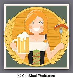 Oktoberfest Poster Girl With Beer Festival Celebration Symbol Flat Design Vector Illustration