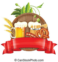 Oktoberfest Poster with Barrel, Glass of Beer, Barley, Hops, Pretzels, Sausages and Ribbon, vector isolated on white background
