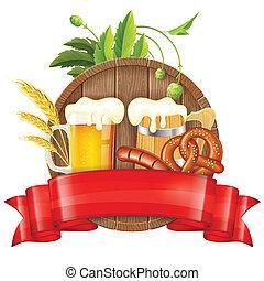 Oktoberfest Poster with Barrel, Glass of Beer, Barley, Hops...