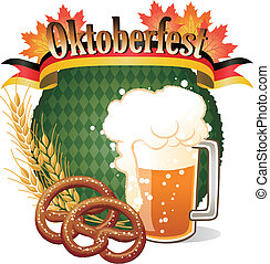 oktoberfest, pretzel, cerveza, diseño, redondo, celebración