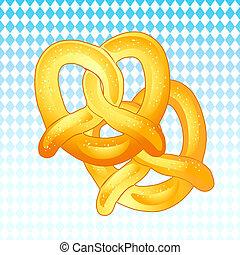 Oktoberfest pretzels on bavarian flag background