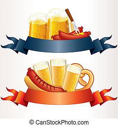 oktoberfest, propre, fête, texte, bière, wurst, ton, en-têtes, pretzel., bannières, conception, prêt, ou