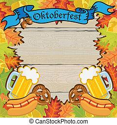 oktoberfest, rahmen, party, einladung
