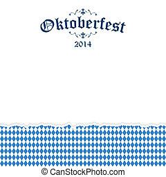 oktoberfest, rasgado, texto, papel, fundo, 2014