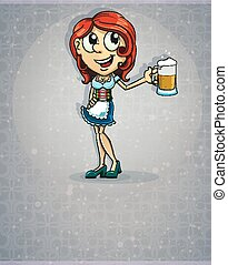 Oktoberfest redhead girl in traditional costume with a glass...