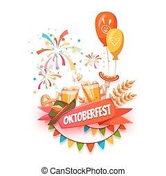 oktoberfest, ribbon., bière, vecteur, illustrations, bannière, celebration.