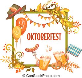 oktoberfest, ribbon., cerveja, vetorial, ilustrações, bandeira, celebration.