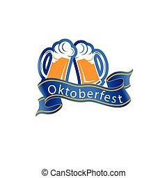 Oktoberfest Ribbon Two Glasses Of Beer Vector Image