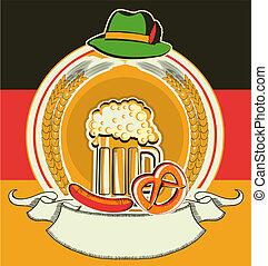 oktoberfest, símbolos, etiqueta, cerveja, bandeira, alemão