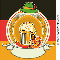 oktoberfest, símbolos, etiqueta, cerveza, bandera, alemán