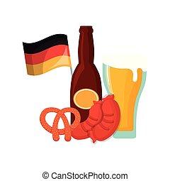 oktoberfest, saucisse, drapeau, bretzel, botlle, verre, bière, allemagne