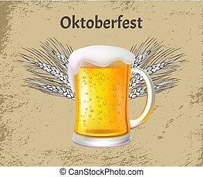 oktoberfest, schiuma, manifesto, vetro birra, tazza, mestiere