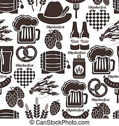 Oktoberfest seamless background pattern in black and white...