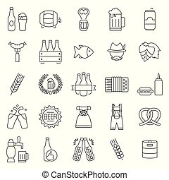 oktoberfest, set, bier, symbols., vector, dune lijn, style., pictogram