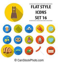 Oktoberfest set icons in flat style. Big collection Oktoberfest bitmap,raster symbol stock illustration