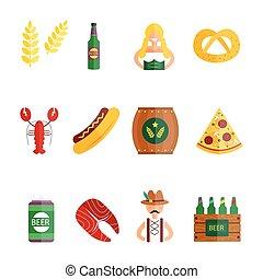 Oktoberfest set icons vector illustration.