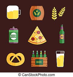 Oktoberfest set icons vector illustration.