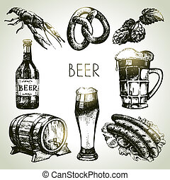 Oktoberfest set of beer. Hand drawn illustrations