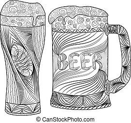 Oktoberfest set of beer. Hand drawn illustrations.