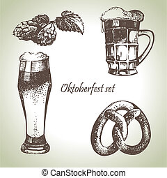 Oktoberfest set of beer, hops and pretzel. Hand drawn illustrations