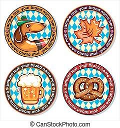 Oktoberfest set of round drink coasters