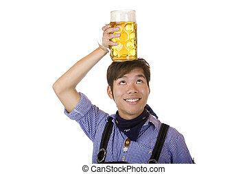 oktoberfest, sien, stein, sourires, main, bière, asiatique, avoir