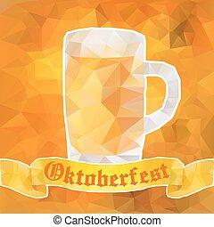 Oktoberfest sign. Beer mug. Vector illustration. Low poly.
