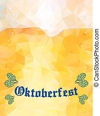 Oktoberfest sign. Hop buds. Vector illustration. Low poly.