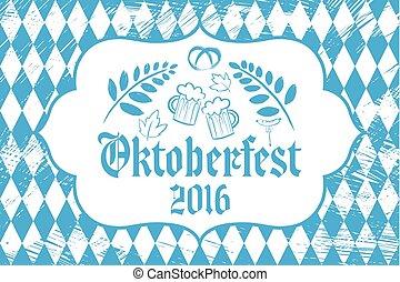 Oktoberfest sign on the tablecloths