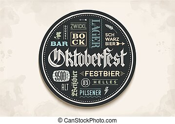 oktoberfest, sottobicchiere, iscrizione, festival, birra, ...