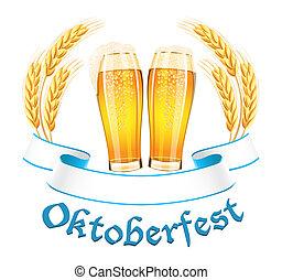 oktoberfest, spandoek, met, twee, bier glas, en, tarwe, oor