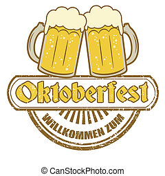 Oktoberfest stamp - Grunge rubber stamp with beer mugs and...