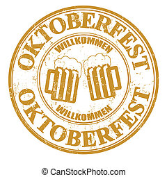 Oktoberfest stamp - Grunge rubber stamp with two beer mugs...