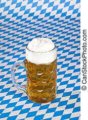 oktoberfest, stein, bávaro, bandera, cerveza, plano de fondo