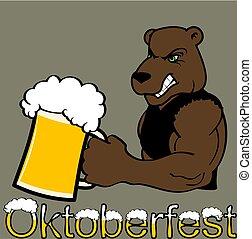 oktoberfest strong bear cartoon sticker