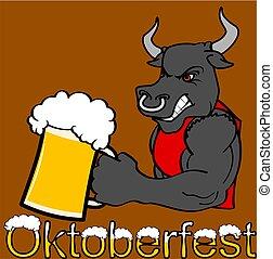 oktoberfest strong bull cartoon sticker