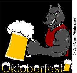 oktoberfest strong dog cartoon sticker