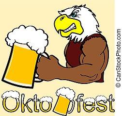 oktoberfest strong eagle cartoon sticker