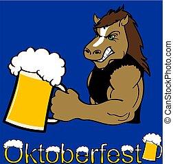 oktoberfest strong horse cartoon sticker