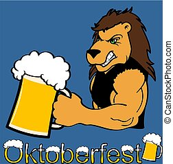 oktoberfest strong lion cartoon sticker