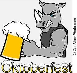 oktoberfest strong rhino cartoon sticker