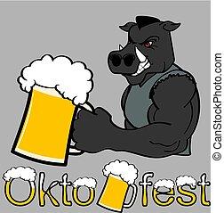 oktoberfest strong wild pig cartoon sticker