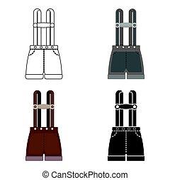 oktoberfest, style, illustration., symbole, isolé, arrière-plan., vecteur, lederhosen, blanc, icône, dessin animé, stockage