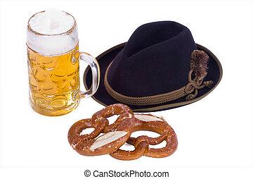 Oktoberfest symbol - glass of german bavarian beer with ...