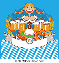 oktoberfest symbol label with woman and beer. Vector color ...